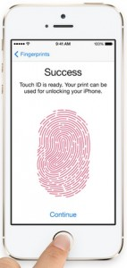 iPhone 5s features fingerprint security