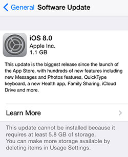Not enough space to install iOS 8