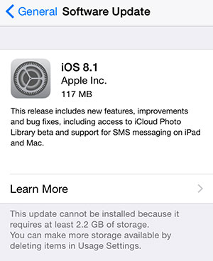 Not enough space to install iOS 8.1 - the solution